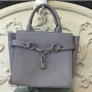 Faux Leather Satchel with a Locket